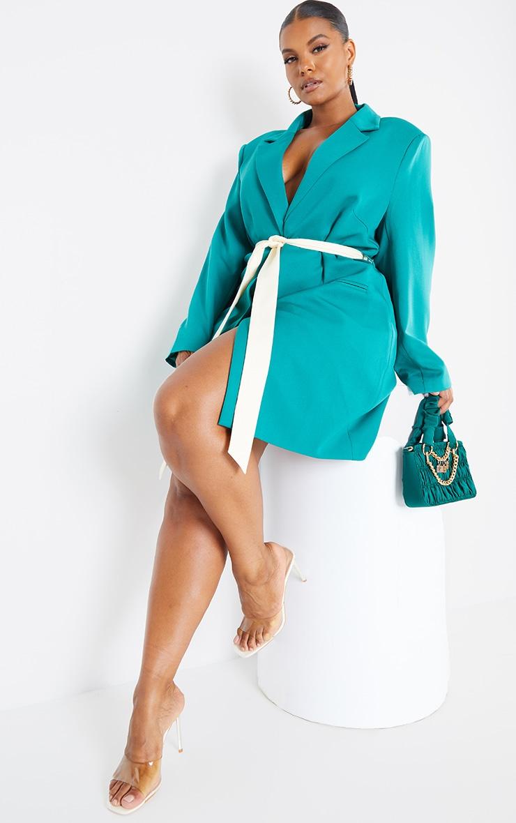 Plus Emerald Contrast Tie Waist Blazer Dress 1