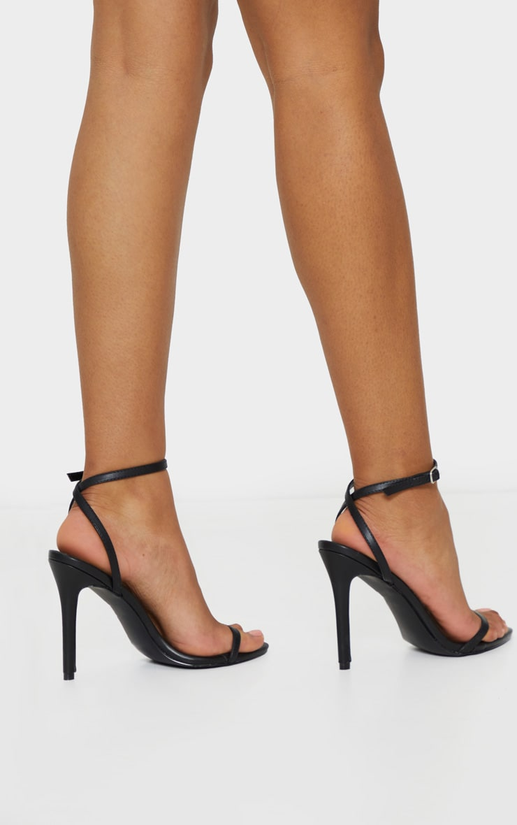 Black Ankle Strap Angled Toe Heels 2