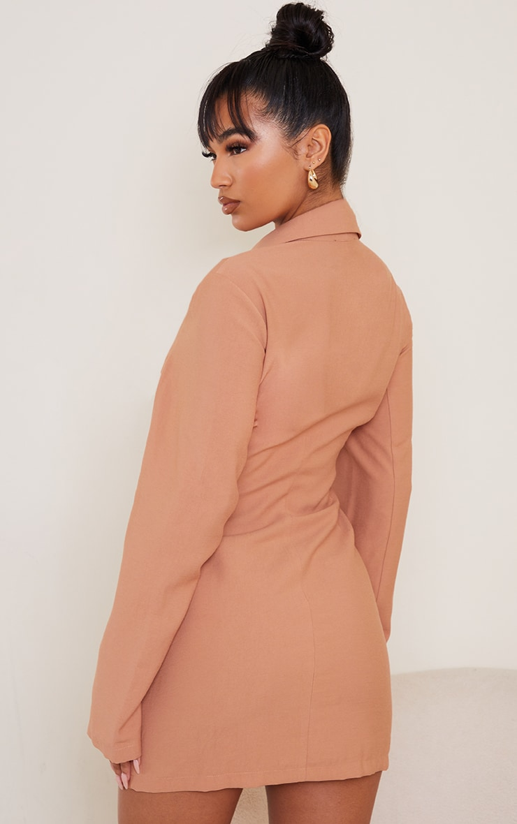 Camel Plunge Lace Up Front Blazer Style Bodycon Dress 2