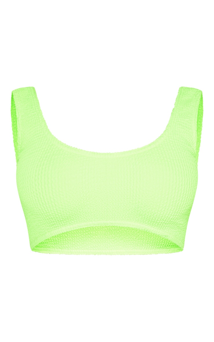 Neon Lime Crinkle Deep Scoop Bikini Top 3
