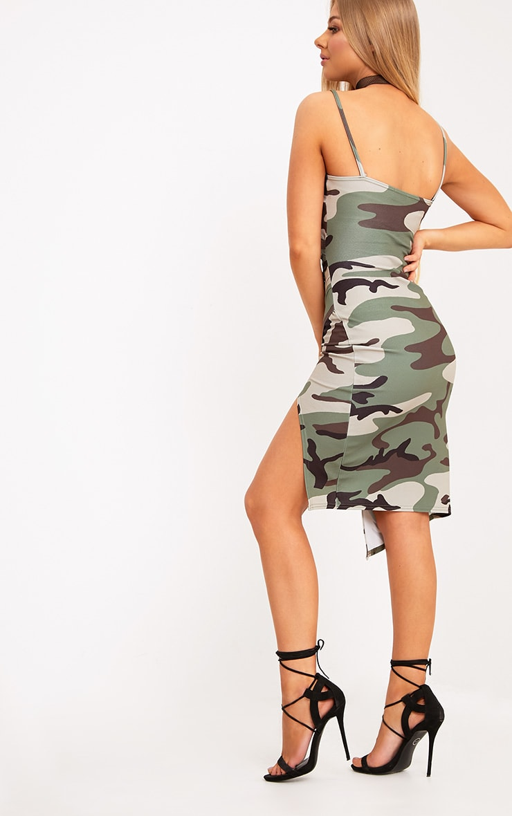 Lauriell Green Camouflage Wrap Front Crepe Midi Dress 2