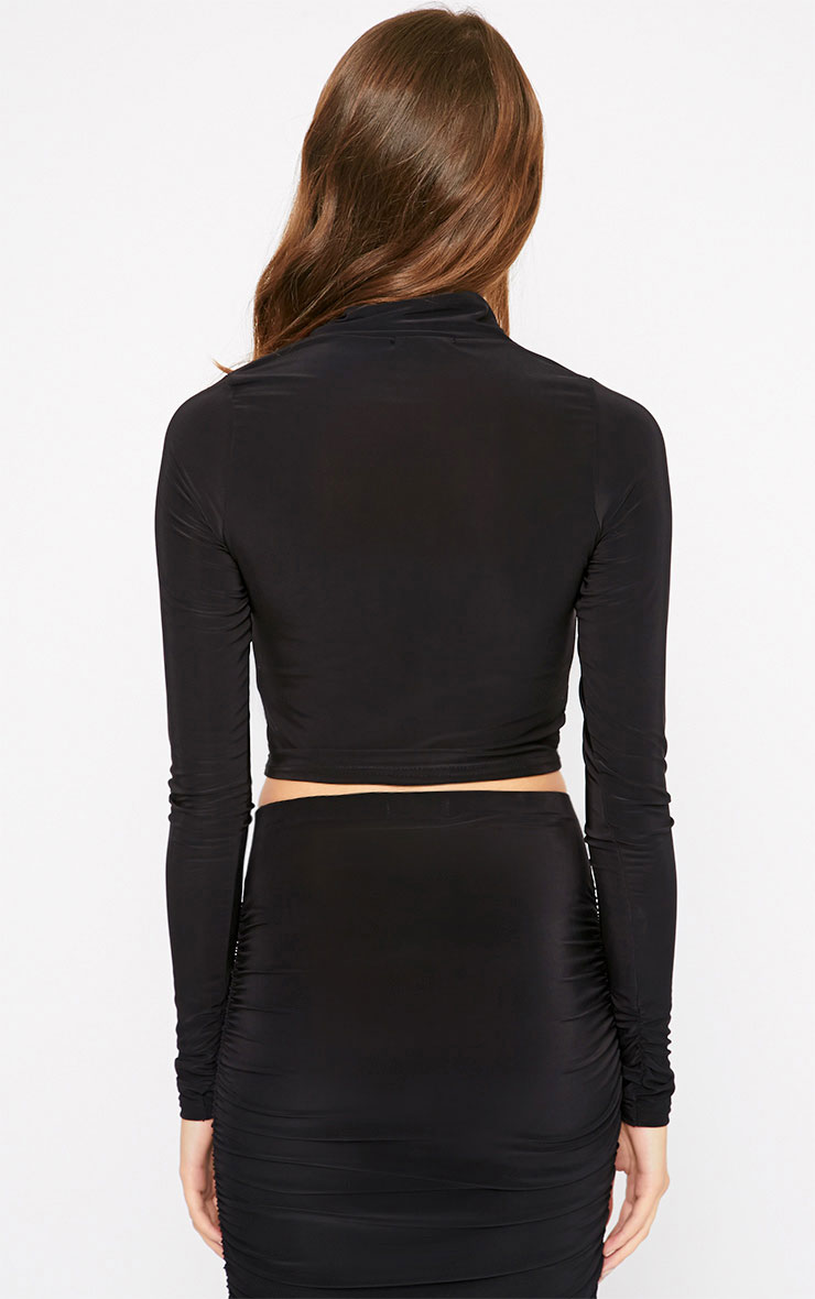 Saylor Black Turtle Neck Crop Top  2