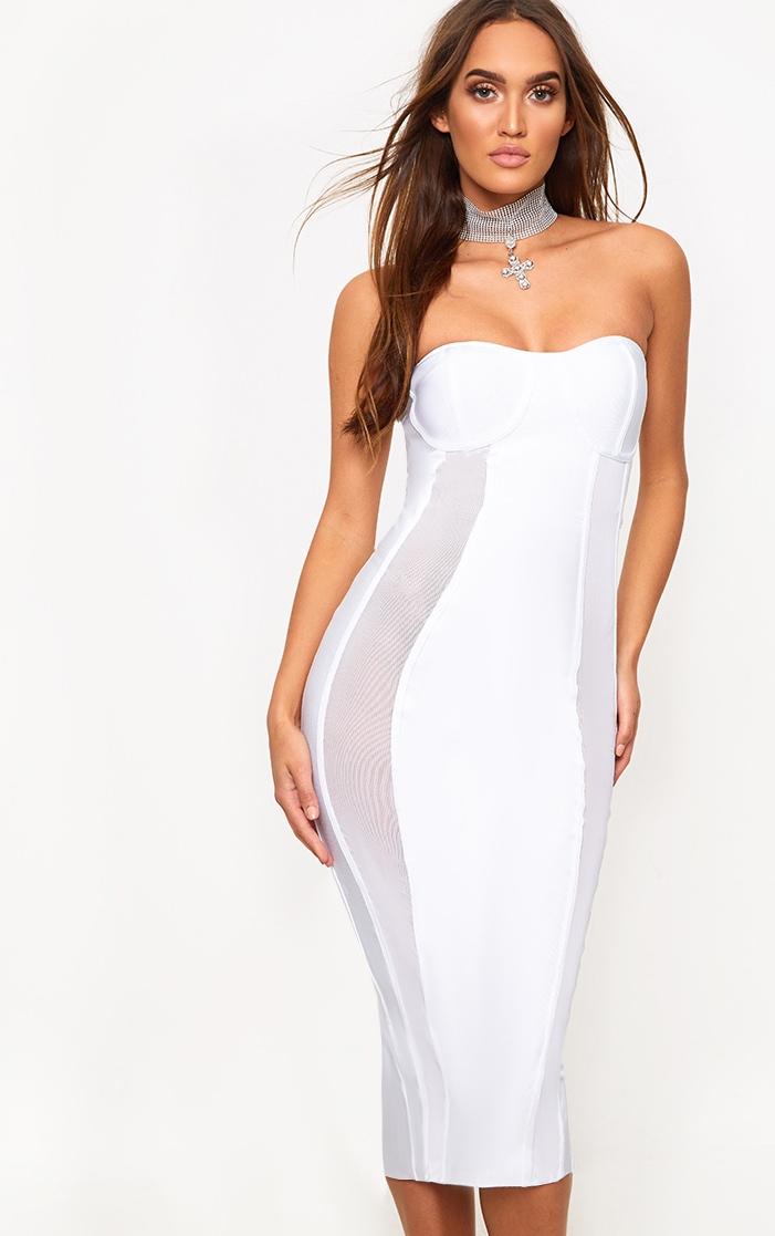 White Bandage Mesh Insert Midi Dress  1