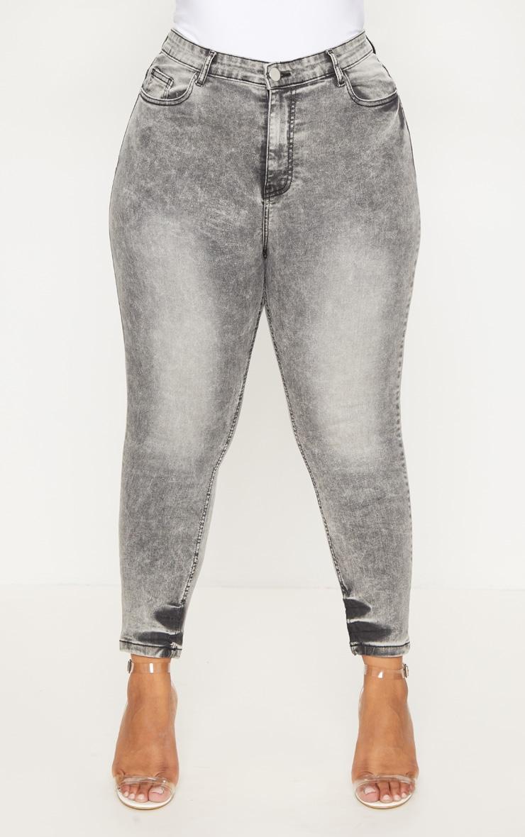 Plus Grey Acid Wash Skinny Jeans 6