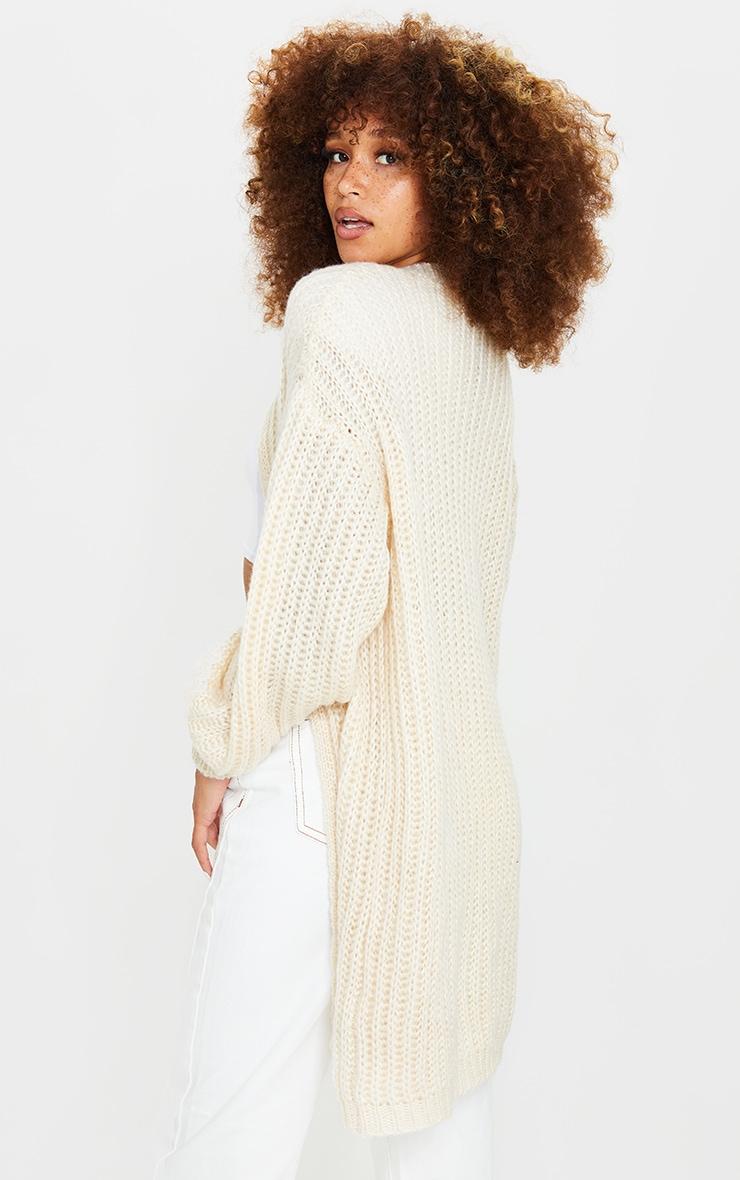 Cream Premium Fluffy Chunky Knit Balloon Sleeve Midi Cardigan 2