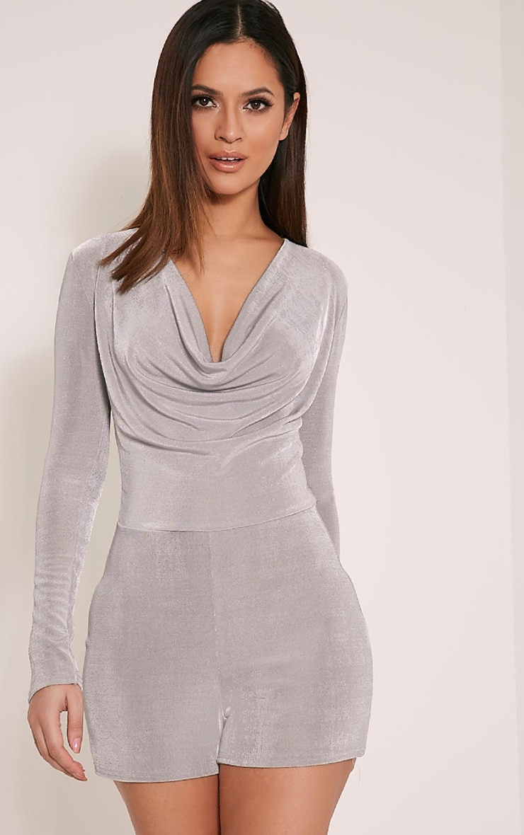 Veronia Silver Long Sleeved Cowl Neck Playsuit 1