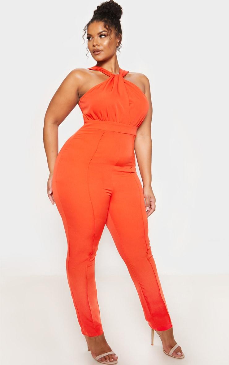 Orange High Neck Jumpsuit 5