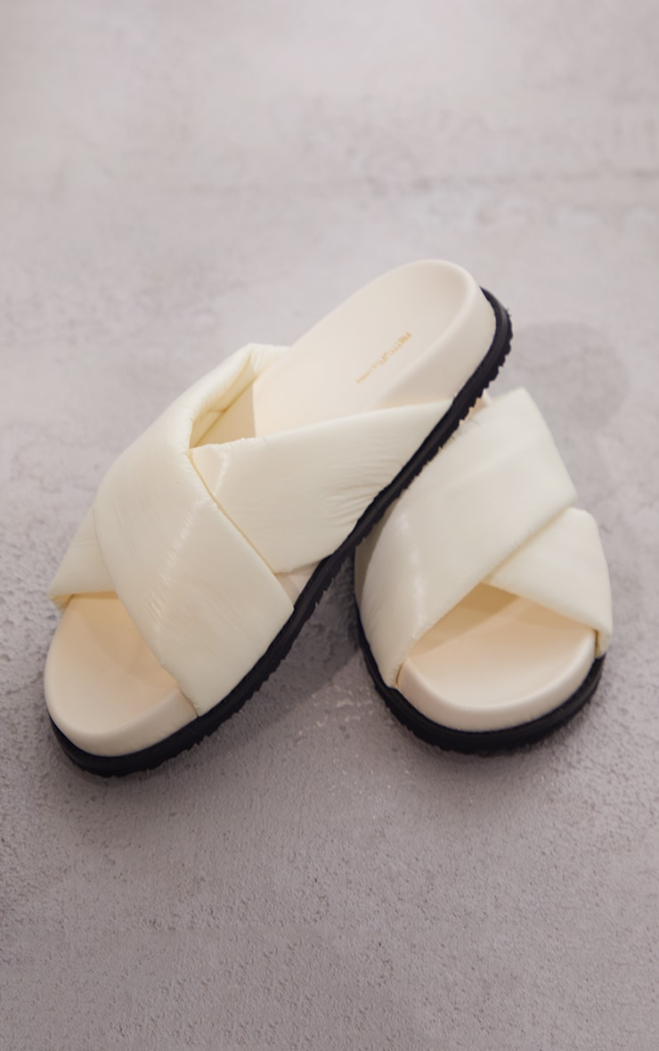 Cream Puffer Cross Over Footbed Sandals 3