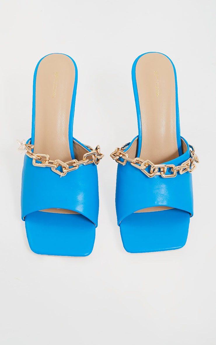 Blue PU Chain Detail Mid Heeled Mules 3