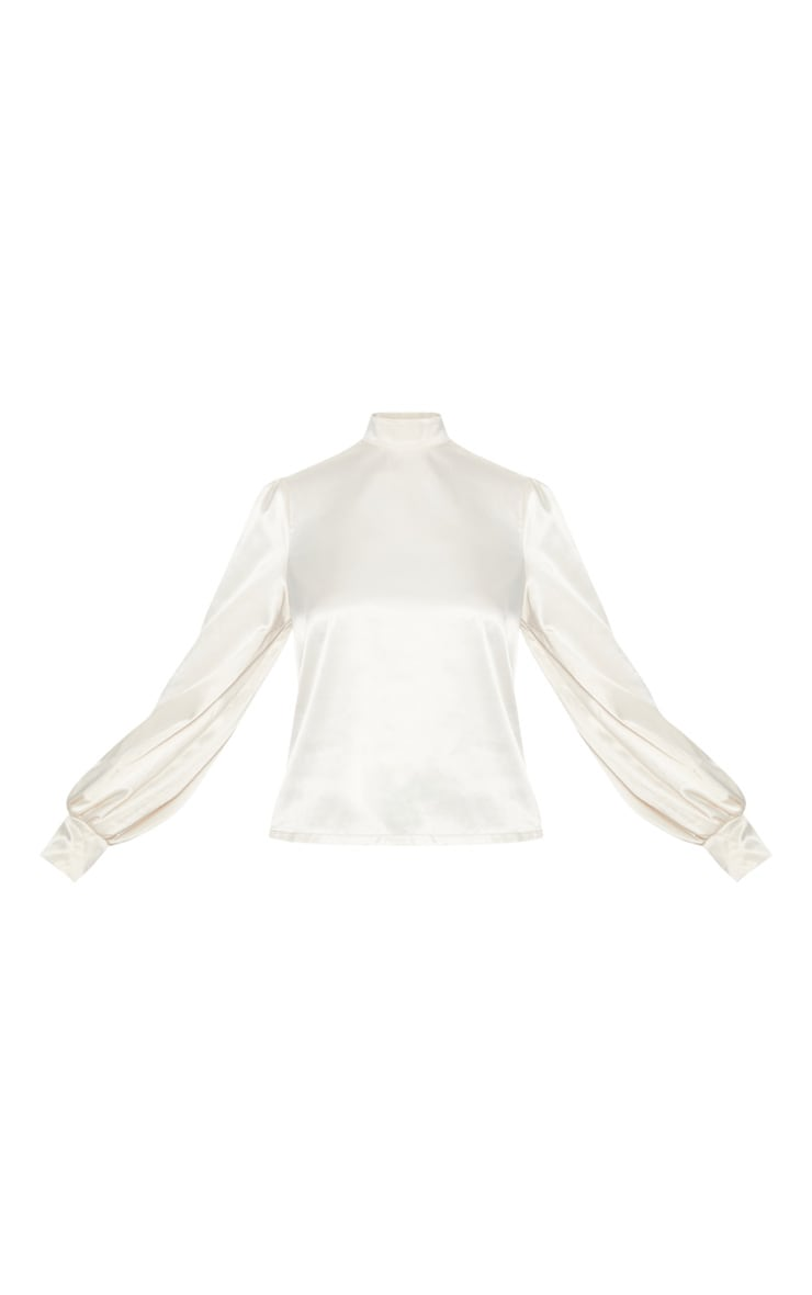 Champagne Satin High Neck Puff Sleeve Top 3