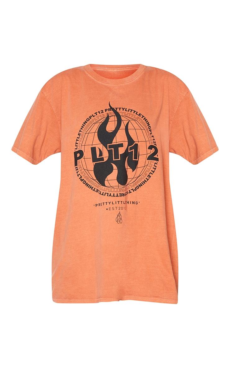 PRETTYLITTLETHING Orange Globe Printed Short Sleeve Washed T Shirt 5