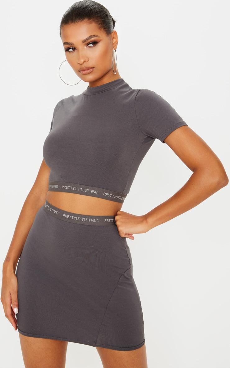 PRETTYLITTLETHING Lead Grey Tape Jersey Crop T Shirt 1