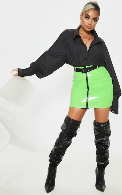 Petite Neon Green Vinyl Zip Front Belted Mini Skirt