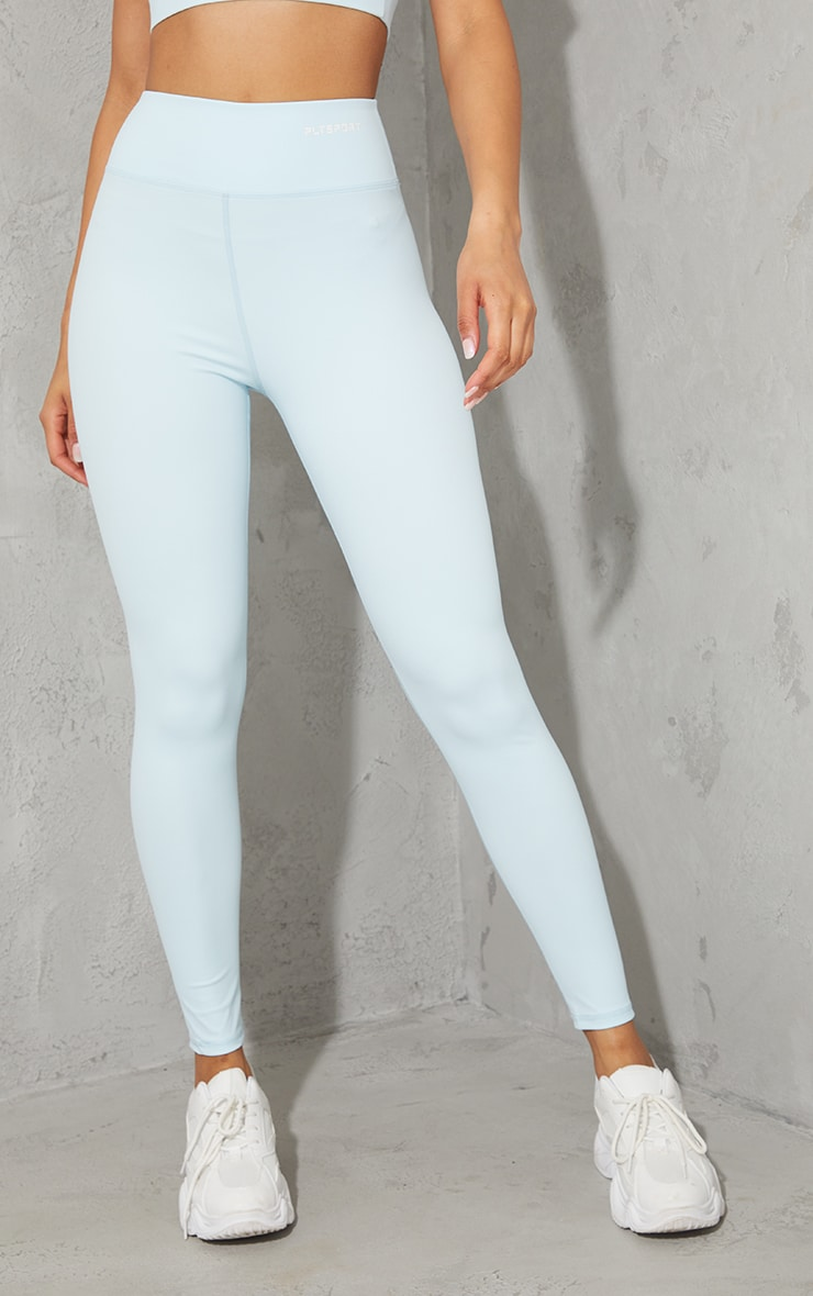 PRETTYLITTLETHING Baby Blue Sculpt Luxe Gym Leggings 2