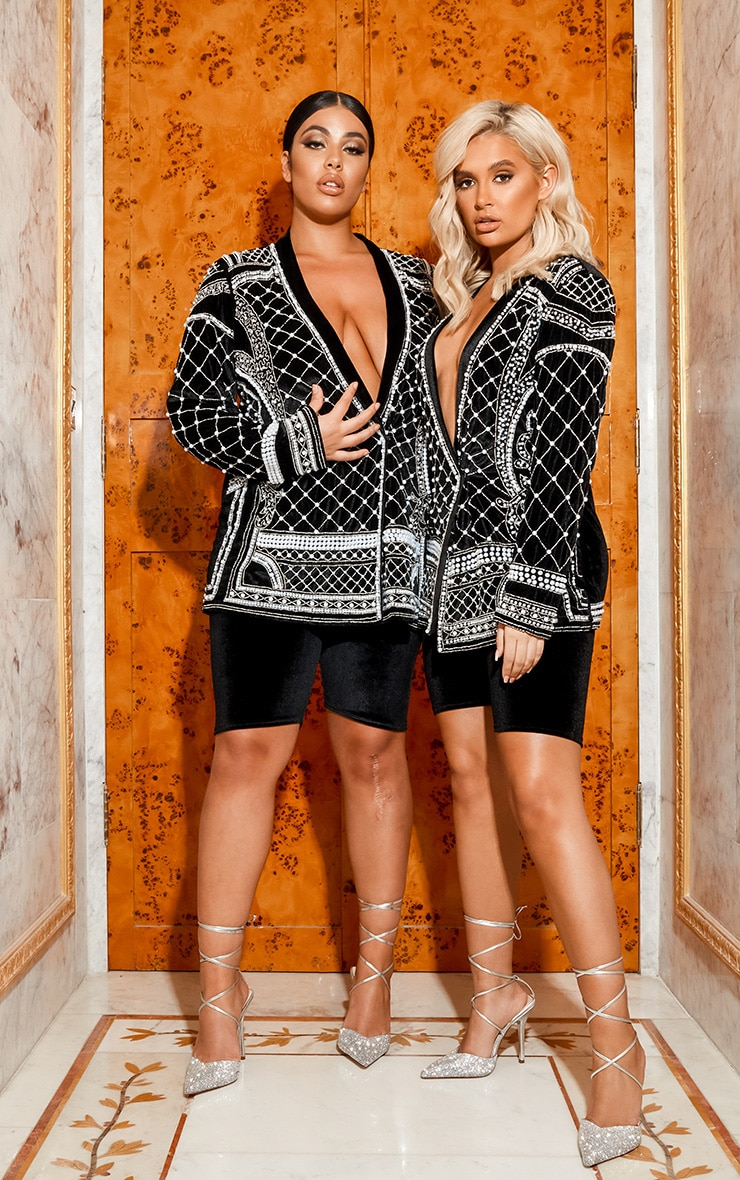 Premium Black Velvet Embellished Beaded Oversized Blazer 2
