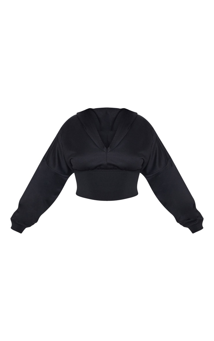 Plus Black Waist Detail Crop Hooded Top 3