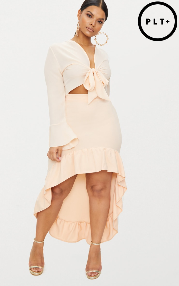 Plus Nude Frill Hem Midi Skirt 1