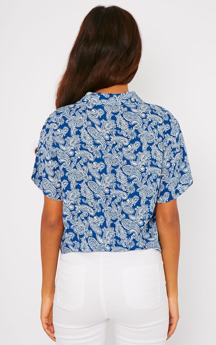Arizona Blue Paisley Tie Front Crop Shirt 2
