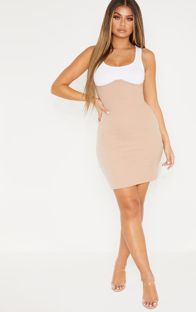 NUDE CUP DETAIL CONTRAST RIBBED BODYCON DRESS