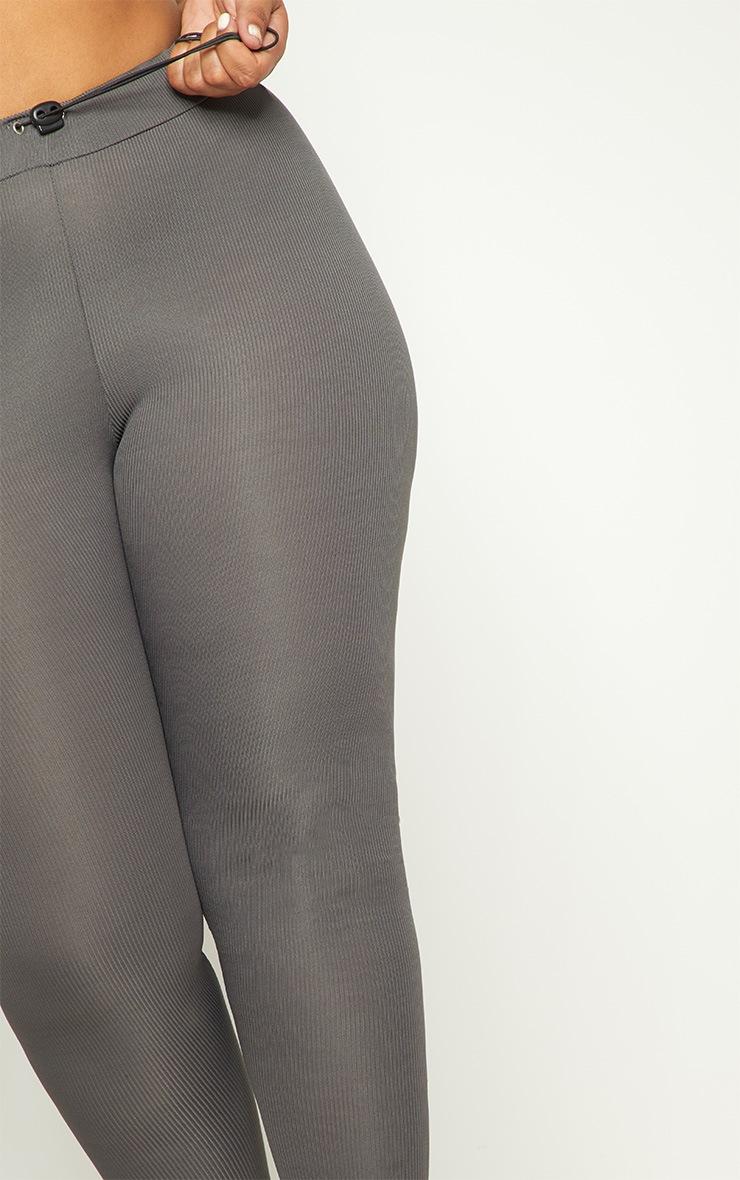 Plus Charcoal Ribbed Leggings 5