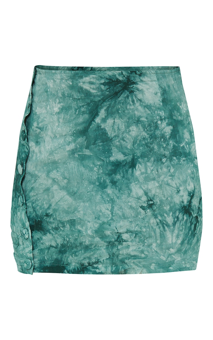 Teal Tie Dye Printed Woven Button Front Mini Skirt 6