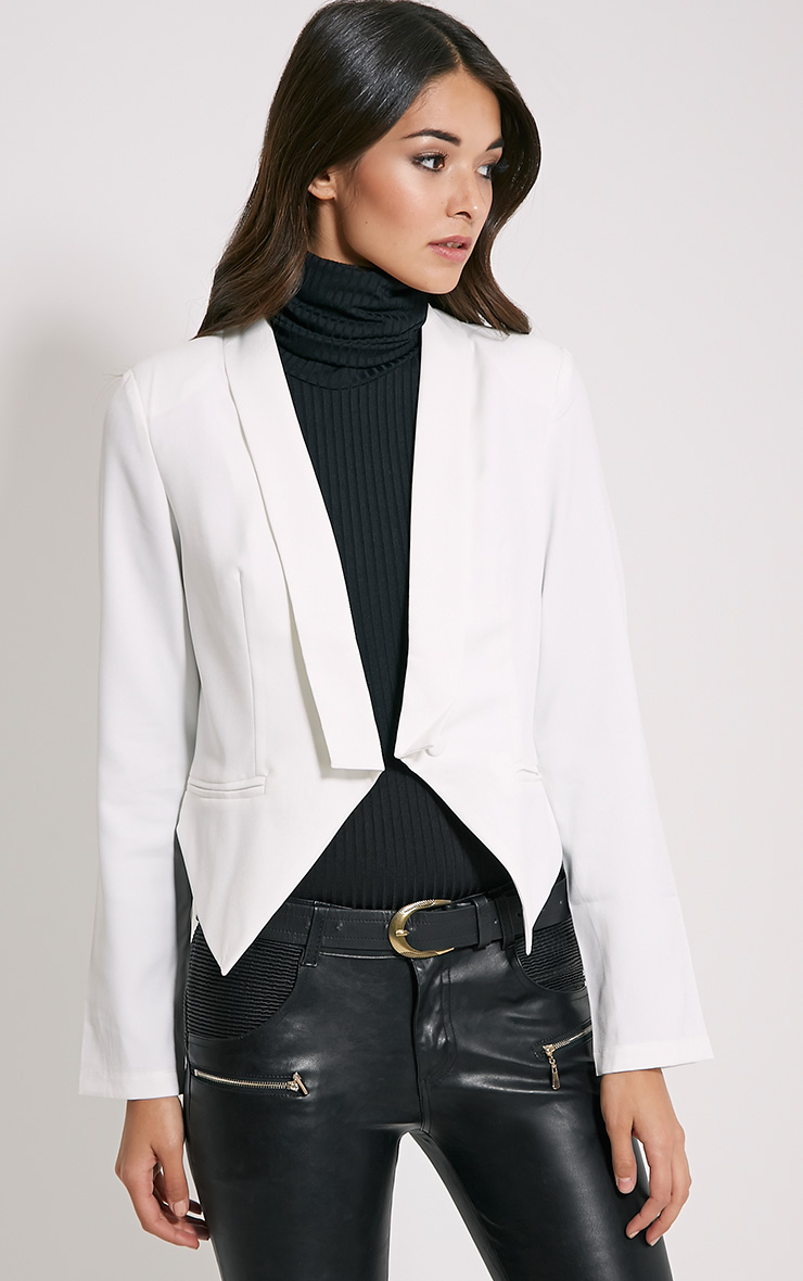 Jaida White Tailored Cropped Blazer 1