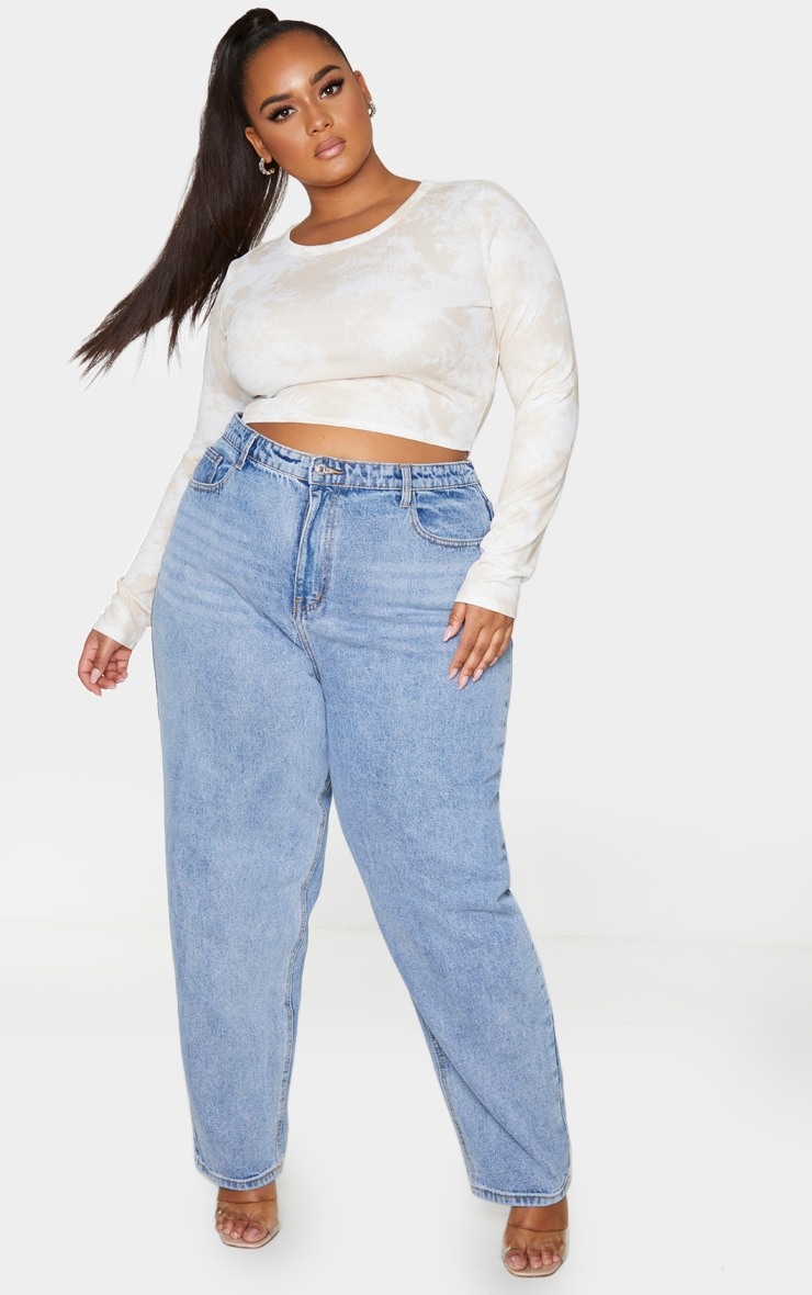 Plus Stone Tie Dye Rib Long Sleeve Crop Top 3