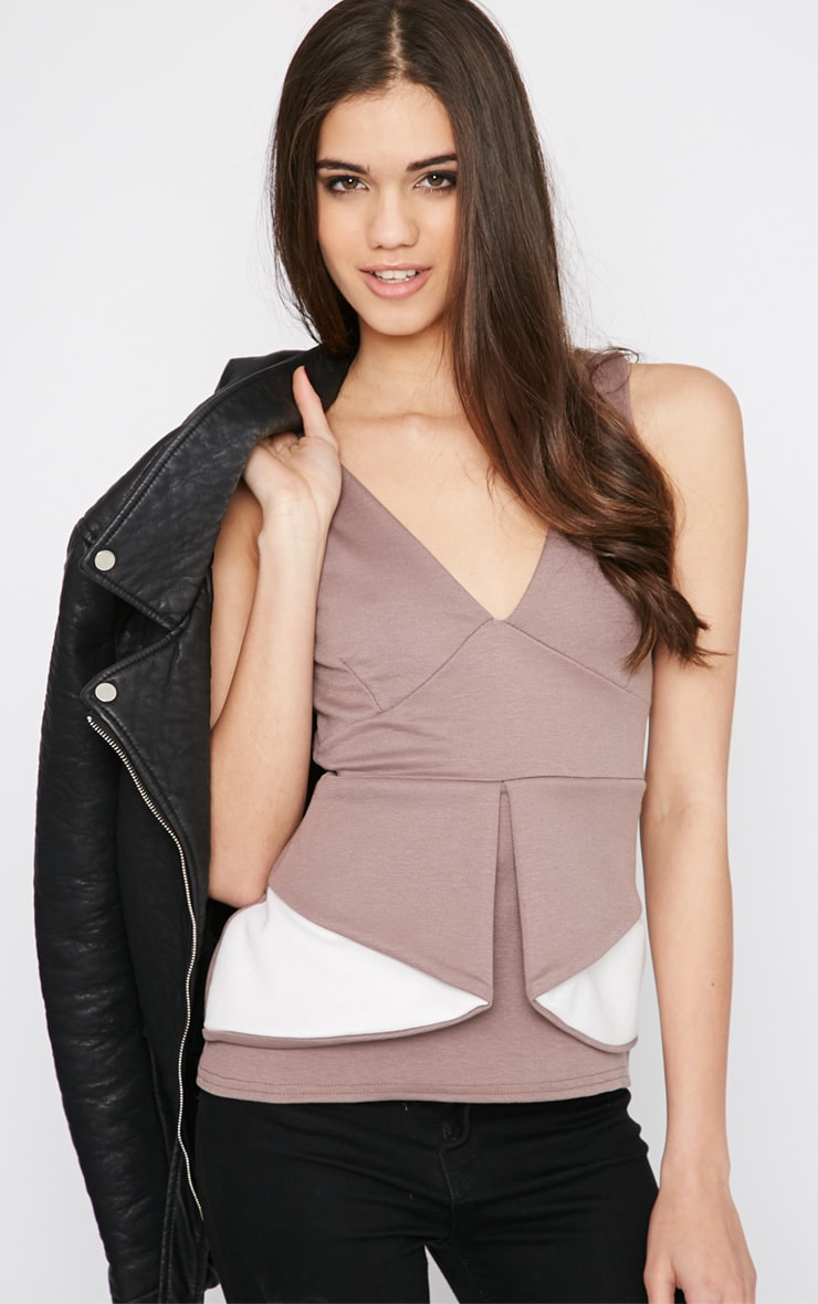 Noemi Mocha Colour Block Layered Peplum Top   2