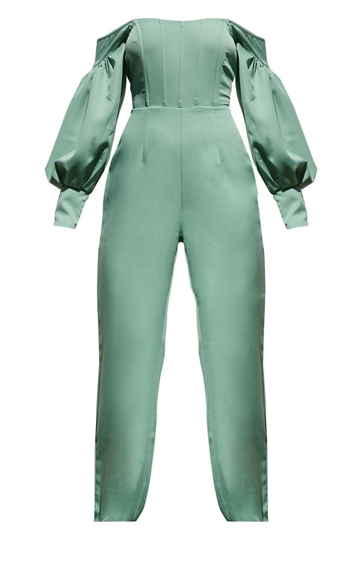 Sage Green Bardot Balloon Sleeve Corset Jumpsuit 5