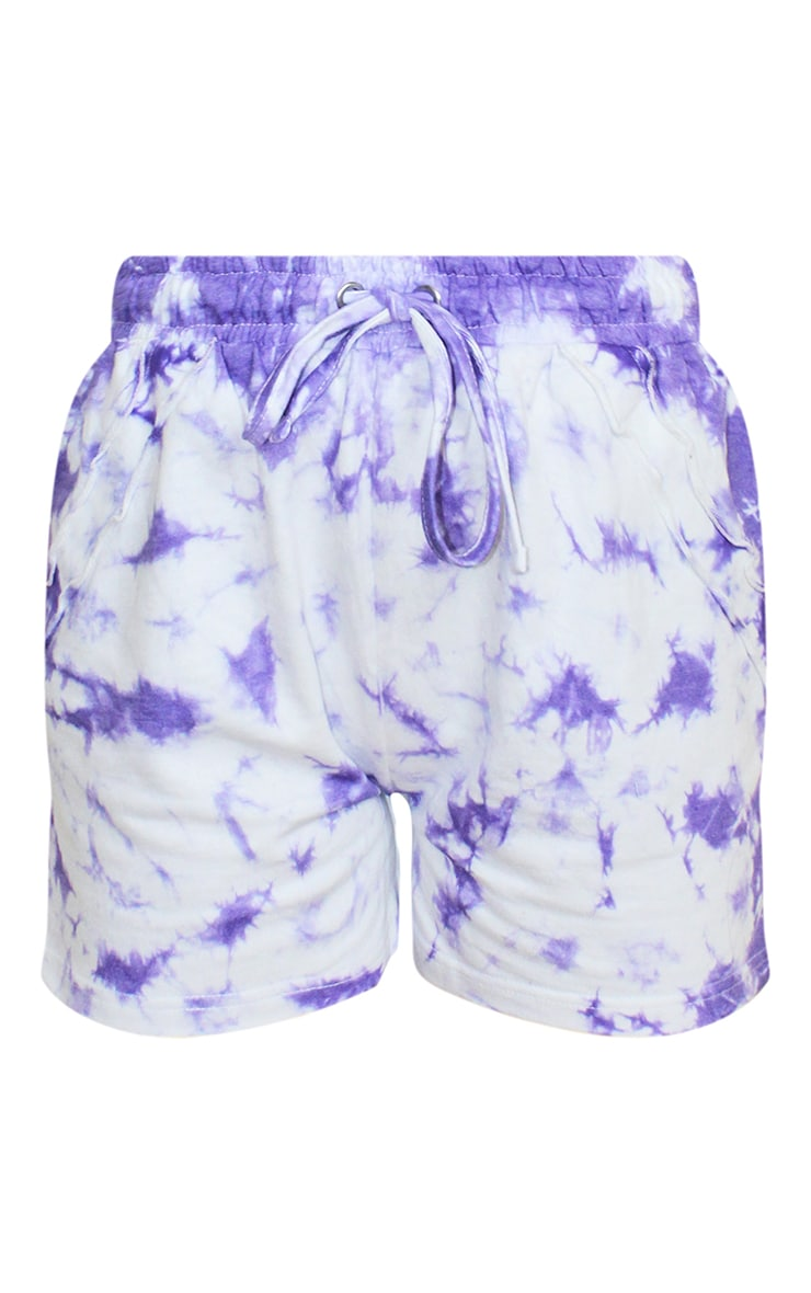 Petite Purple Tie Dye Frill Sweat Detail Short 6
