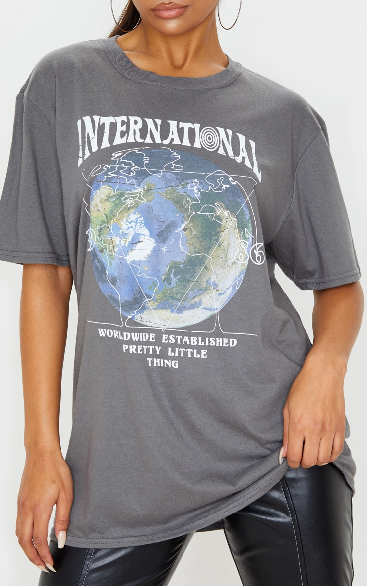 Charcoal Grey International Print Oversized Short Sleeve T Shirt 5