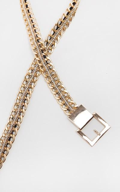 Gold Chain Belt Reversible Diamante and PU Belt