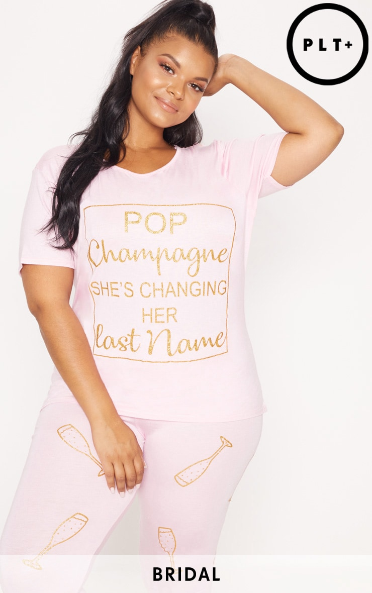 Plus Pale Pink Bridal Party Pop Champagne Long PJ Set
