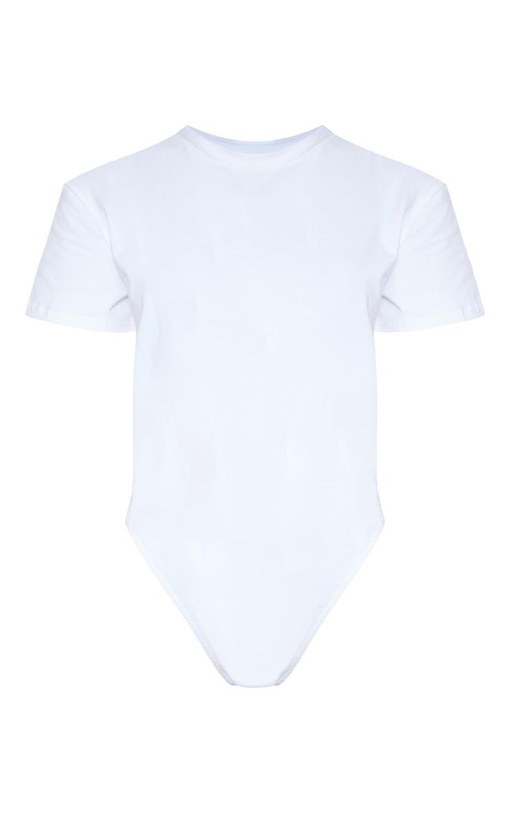 White Cotton Stretch T Shirt Thong Bodysuit 3