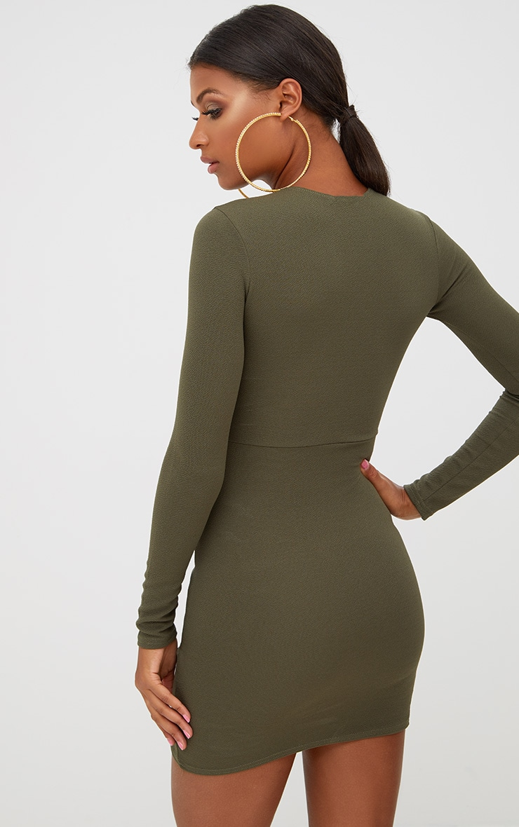 Khaki Long Sleeve Wrap Skirt Bodycon Dress 2