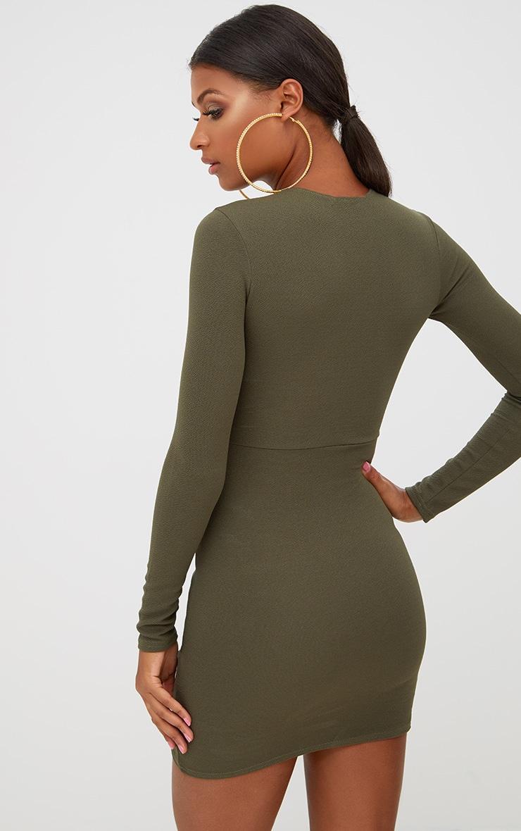 Khaki Long Sleeve Wrap Skirt Bodycon Dress 2