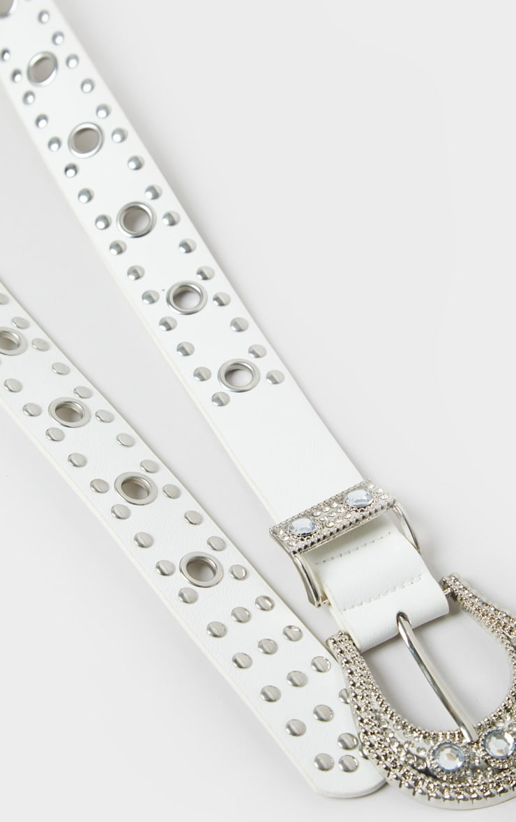 White Diamante Buckle Studded Western Belt 3