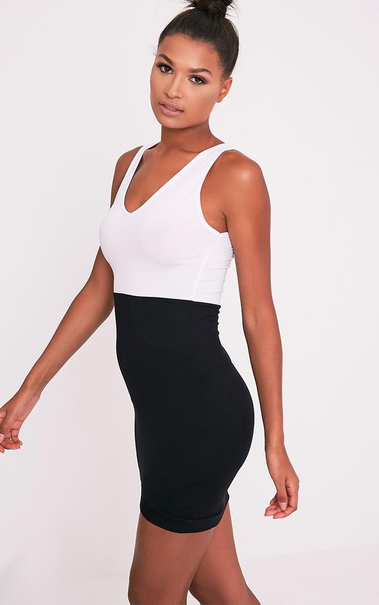 Ashleya Monochrome Scoop Neck Contrast Bodycon Dress 4