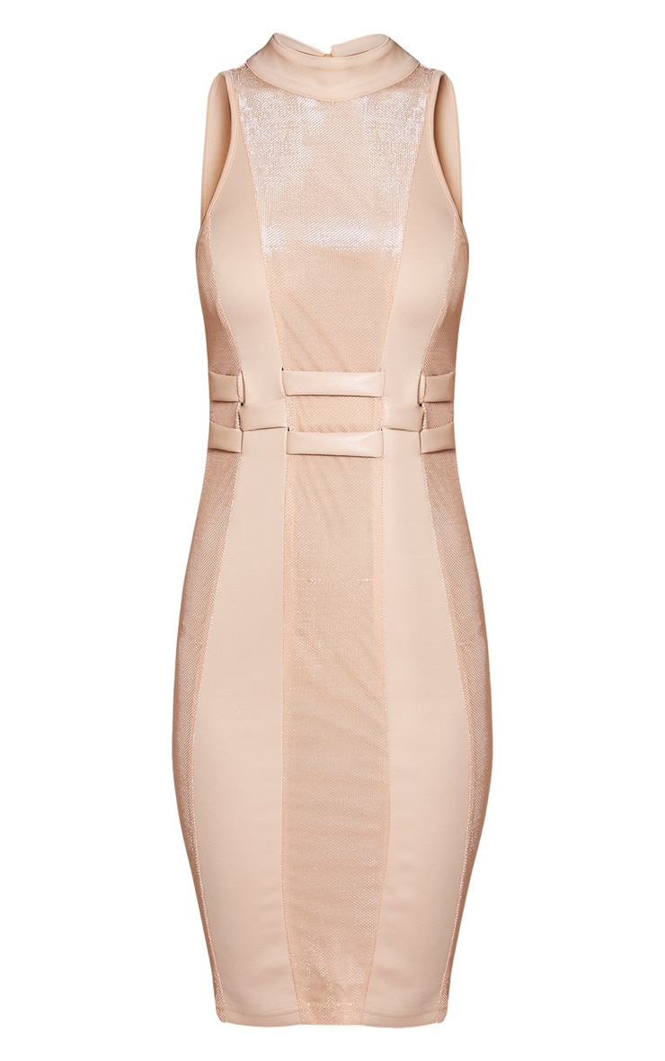 Esma Nude High Neck Metallic Detail Bodycon Dress 3