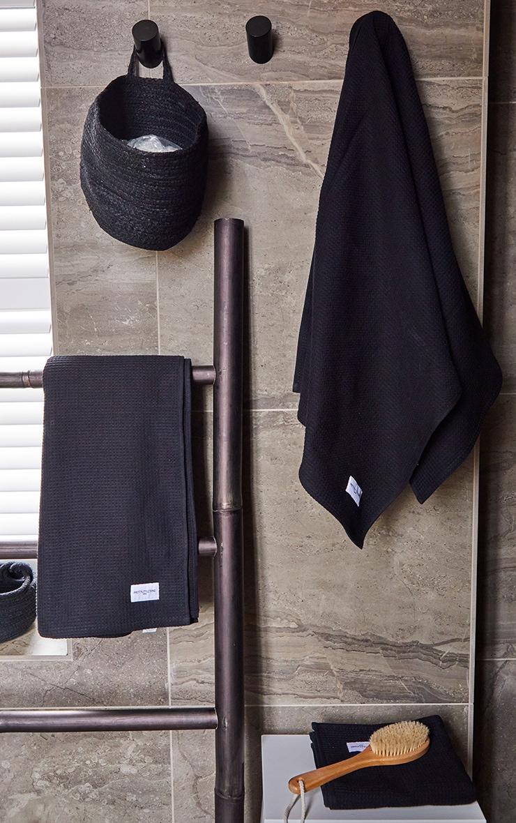 Black Waffle Cotton Large Bath Towel 1