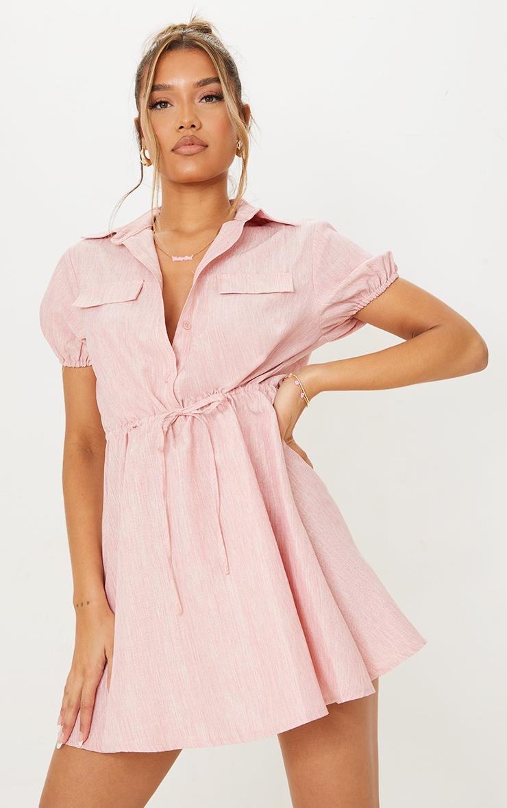 Pink Linen Look Tie Waist Puff Sleeve Shift Dress 3