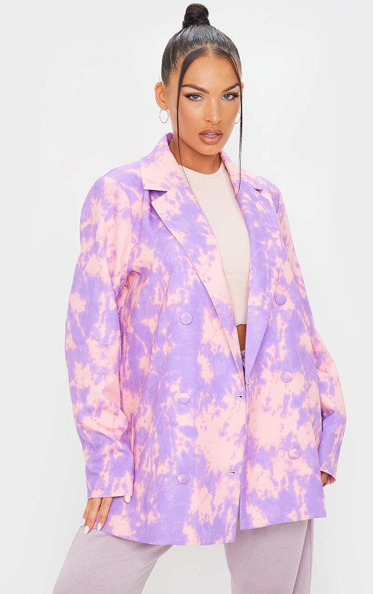 Purple Woven Triple Breasted Oversized Blazer 1