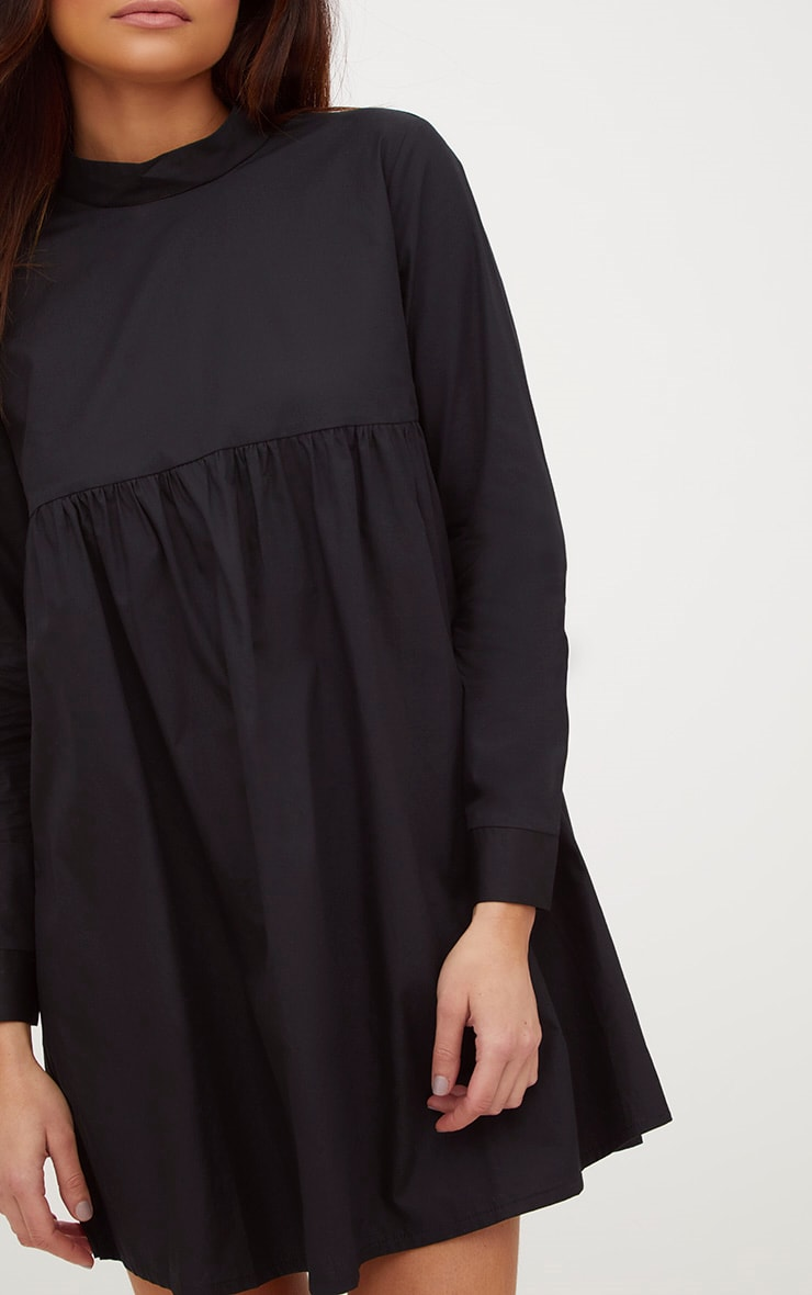 Black Cotton Poplin High Neck Smock Dress 5