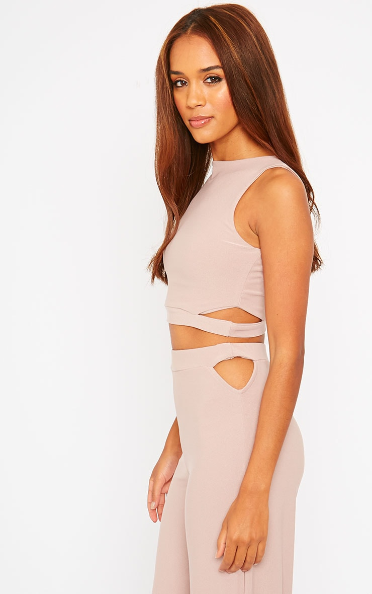 Elphina Dusty Pink Crepe Cut Out Crop Top 8