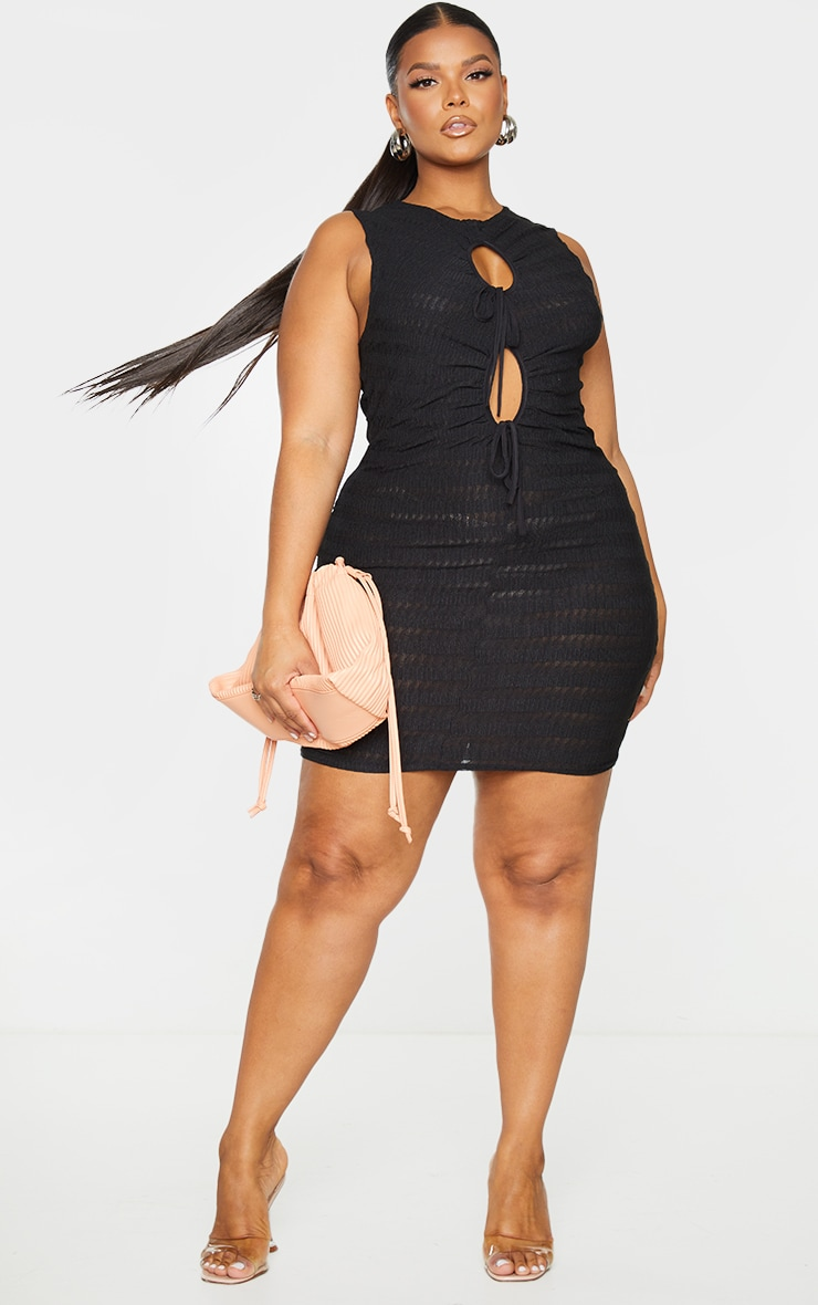 Plus Black Shirred Textured Cut Out Bodycon Dress 1