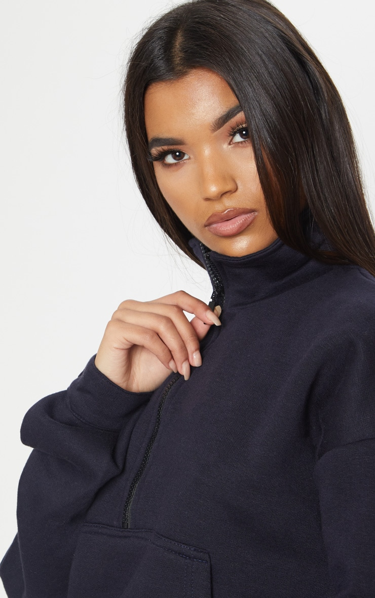 Navy Oversized Zip Front Sweater 5