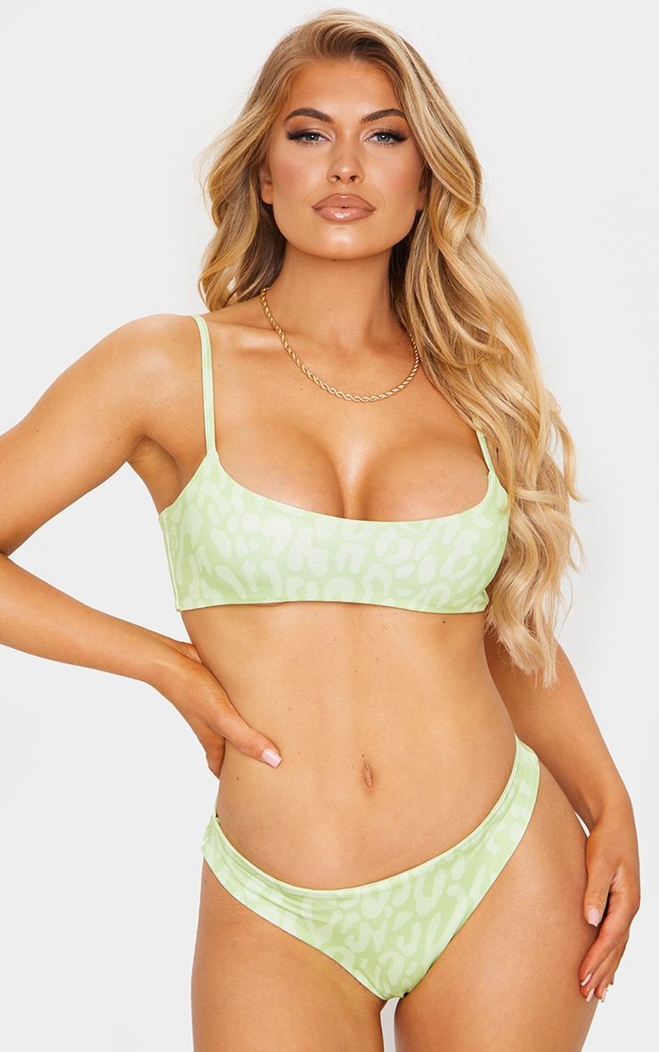 Green Cheetah Low Scoop Bikini Top 4