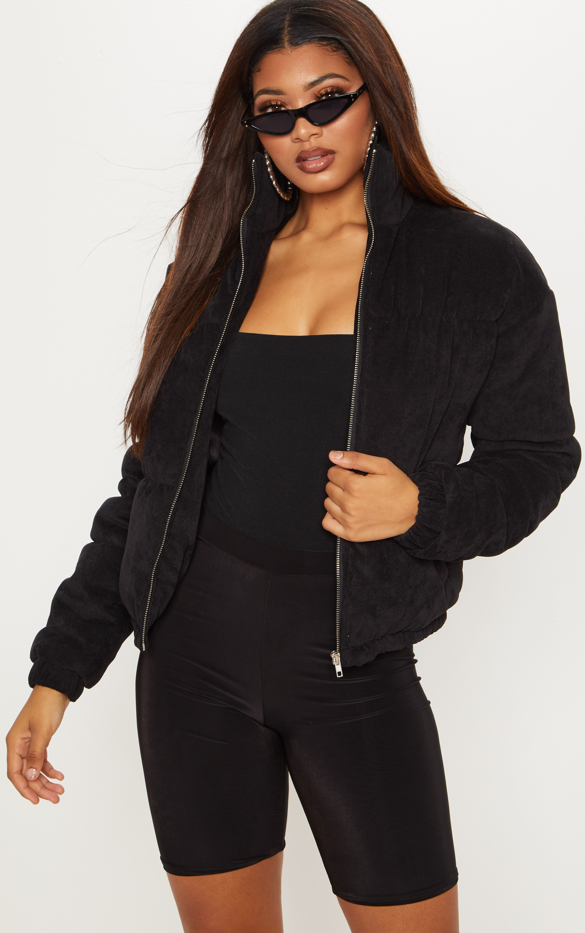 Tall Black Cord Puffer Coat 1
