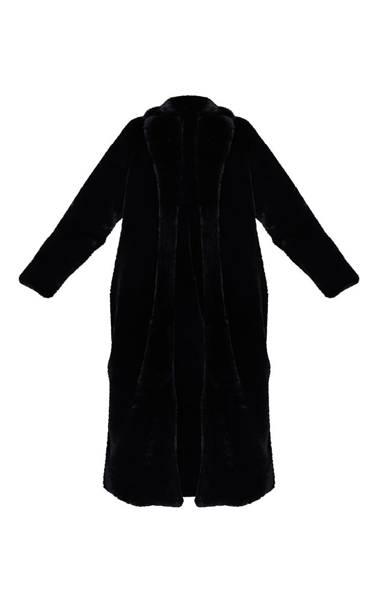 Black Premium Faux Fur Plush Military Maxi Coat 5