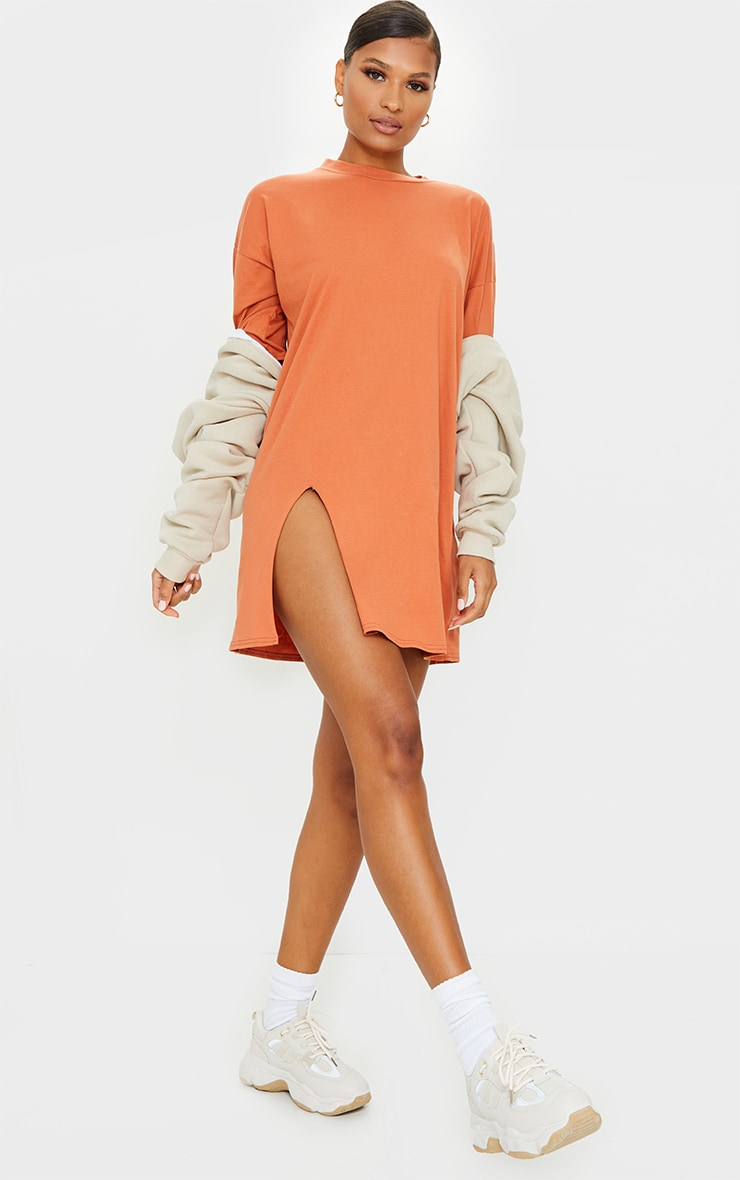 Rust Split Oversized Boyfriend T Shirt Dress 3